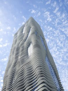 Aqua Tower, Chicago, USA. The name Aqua is a reference to the wave-like design of the balconies of the tower, and perfectly fits the setting of the Lake Michigan shores.