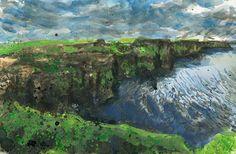 Hugo Stuber: O.T. (Irische Küste 2). #Aquarell, #Acryl, #Tusche und Wasser auf Papier #Irland #cliffsofmoher #grün #Insel #Wellen #Ireland #Steilküste  #hugostuber #startyourart www.startyourart.de