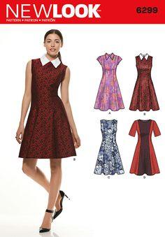 NL6299 Misses' Dress with Neckline & Sleeve Variations