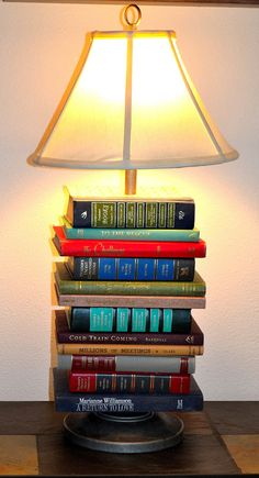 Captivating Stacked Book Table Lamp By PineneckPrimitives On Etsy, $100.00