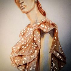 The flu is taking over and I don't think I've captured her face right so here it is . Note to self: Codiel Young looks like a renaissance painting and I need to draw her again, she is so beautiful! #rodarte #fashion #sketch #drawing #pencil #illustration #guache #carandache #luminance #supracolor #codielyoung #officialautumndewilde @rodarte #glmncsm