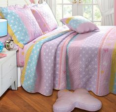 Pastel Pink Purple Girls Bedding Twin Full/Queen Quilt Set Polka Dot Blue Green Stripe & Butterfly