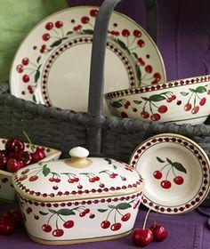 Nicholas Mosse cherry pottery from Ireland Vintage Dishes, Vintage Kitchen, Cherry Kitchen Decor, Cherry Delight, Cherry Hill, Cherry Tree, Cherry Cherry, Cherry Festival, Red And White Kitchen