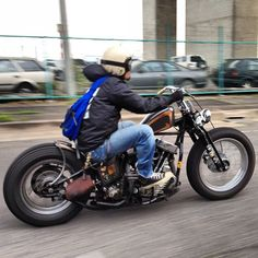 Hardtail panhead custom with springer front end and super low solo seat