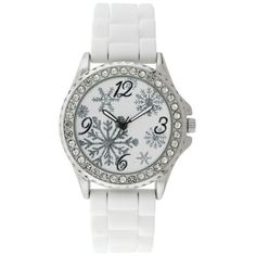 Kim Rogers White Silver-Tone A Classic Time White Rubber Strap And... (240 ZAR) ❤ liked on Polyvore featuring jewelry, watches, white, white jewelry, special occasion jewelry, white dial watches, holiday watches and silvertone watches