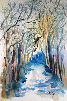 Winter Walk by Vandy Massey. Watercolour landscape painting of an avenue of trees in snowy colours. Bare branches and cool light.