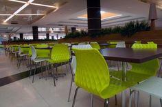 Uni chairs in green and white in Santo Domingo, Dominican Republic. Hospitality, Interior, Design.