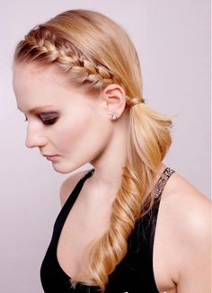 Amazing French Braid Into Curled Side Ponytail With Hot Pink Bow Hair Short Hairstyles Gunalazisus