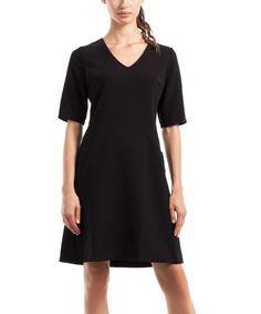 Another great find on #zulily! Black Half-Sleeve A-Line Dress #zulilyfinds