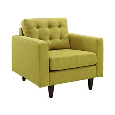 Wrap yourself in contemporary design with the Fabris Armchair. Inspired by mid-century modern design, it provides a fresh spin on a classic look. The chair features deeply tufted buttons, plush cushion...  Find the Fabris Armchair in Green, as seen in the Turn Back the Clock with Retro Hues Collection at http://dotandbo.com/collections/turn-back-the-clock-with-retro-hues?utm_source=pinterest&utm_medium=organic&db_sku=98962