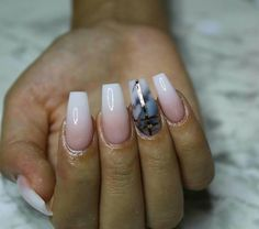 Baby boomer coffin nails with marble detail