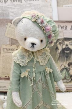 Мишка №171 - белый,мятный,зелёный,винтаж,ваниль,кремовый,антикварная,винтажный плюш