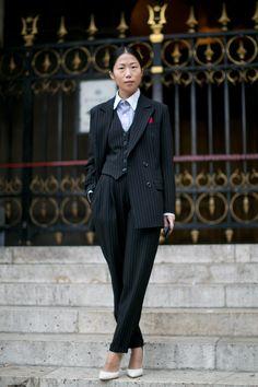 #PFW Oksana On. Woman's three-piece pantsuit. Street Style at Paris Fashion Week, RTW #SS14. Photo: IMAXtree