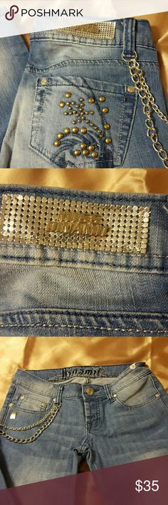 """Dinamit straight legs blue jeans size 26 Very cute Jeans with silver hardware the size  is missing the inseams is 33""""long never been worn but no tags. Dinamit  Pants Straight Leg"""