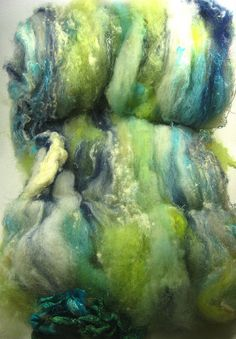 Indigo Leafglow Wild Card Bling Batt for Spinning and by yarnwench, $23.00