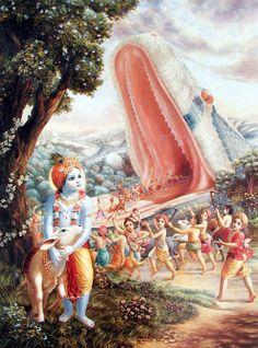 Krishna survives a giant snake attack.
