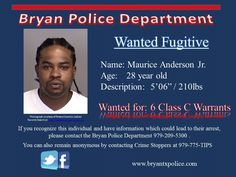 Warrant Wednesday - Maurice Anderson Jr. wanted for 6 class C warrants Nov 2015