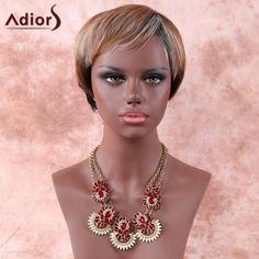 Women's Fashion Adiors Mixed Color Short Fluffy Full Bang Synthetic Hair Wig