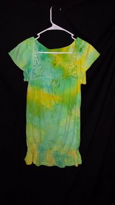 Adult Small UpCycled Green & Yellow Ice Dye on Etsy, $20.00