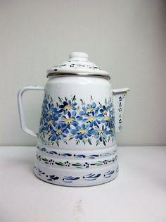 White Enamelware Coffee Pot Percolator Hand by FolkArtByNancy