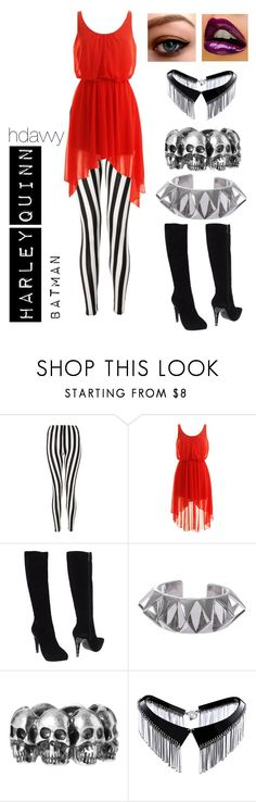 """""""Harley Quinn"""" by hdavvy ❤ liked on Polyvore featuring Fabi, Eddie Borgo, ASOS, Zelia Horsley, stripes, batman, boots, goth and harley quinn"""