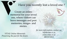 Create a VITAE Online Memorial for loved one today. Losing A Loved One, Genealogy, First Love, The Past, Messages, Memories, History, Create, Life