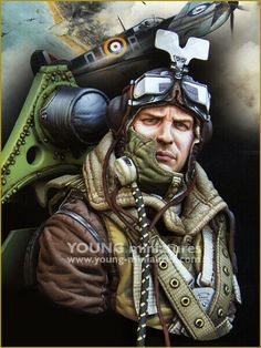 RAF Spitfire Pilot WWII by Young Miniatures. Kit number Photo shows how the kit will look after assembly and painting. Ww2 Aircraft, Fighter Aircraft, Pilot Tattoo, Pilot Uniform, 1 10 Scale, Viking Warrior, Battle Of Britain, Fighter Pilot, Flight Deck
