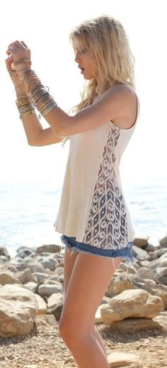 Pretty cream tank with lace panels paired with denim cut offs & stacked boho bangles. Cute outfit for lazy summer day...