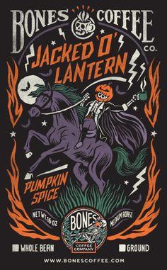 """Jacked o Lantern"" Pumpkin Spice Coffee - Bones Coffee Company Pumpkin Spice Coffee, Spiced Coffee, Halloween Logo, Halloween Fun, Surf, October Art, Furry Boots, Halloween Wallpaper Iphone, Best Pumpkin"