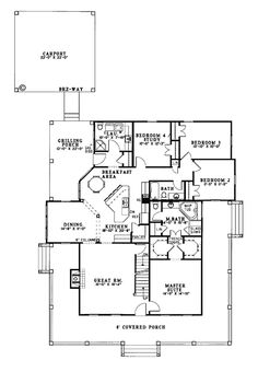First Floor Plan of Country   Southern   House Plan 62032