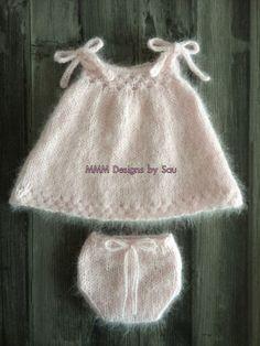 PDF Knitting Pattern - newborn photography prop_ honeycomb swing dress and bloomers SET #136