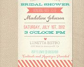 Rustic Vintage Turquoise & Coral Wedding Invite
