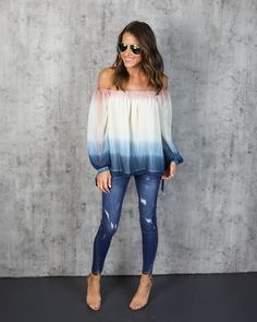 Dipped in dreamy style! Our Santa Monica Sunset Top is the perfectly sultry boho top for your next outing! This gorgeous chiffon dip dyed ombre top features an