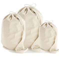 Wholesale Heavy Canvas Laundry Bags W/Shoulder Strap (Small-Medium-Large) - rec site for bags to embroider or use HTV.