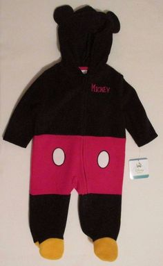 aec2b05c271dd Disney Baby Boys  Mickey Mouse 3 6 Mon Fleece Sleeper Coverall Hood Costume  NWT
