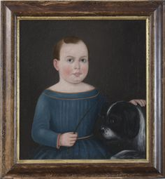 'Portrit of a young boy with a spaniel', unknown artist, American, ca 1840s. Northeast Auctions