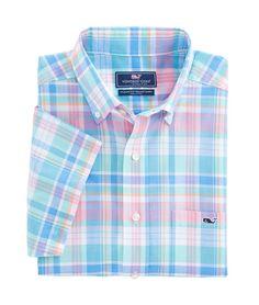 Short-Sleeve Chipping Green Plaid Classic Tucker Shirt