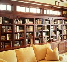 Dream library with built-in shelves, Arts and Crafts style.