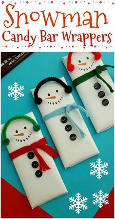 These snowman candy bar wrappers are the PERFECT Christmas treat! They are super. These snowman candy bar wrappers are the PERFECT Christmas treat! They are super cute to whip up for friends and family – or even as gifts! Christmas Candy Crafts, Homemade Christmas Gifts, Kids Christmas, Holiday Crafts, Candy Bar Crafts, Snowman Crafts, Candy Gifts, Christmas Presents For Friends, Christmas Party Favors