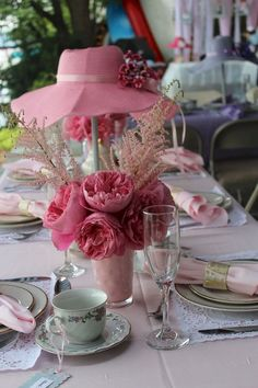 Pink Table at a Tea Party Bridal shower. Designed, styled, decorated and catered by Julia Inspires. Hats soon to be featured in my Etsy shop. Tea Party Theme, Tea Party Hats, Party Themes, Party Ideas, Tea Party Decorations, Decoration Table, Bridal Shower Centerpieces, Tea Party Centerpieces, Tea Party Bridal Shower