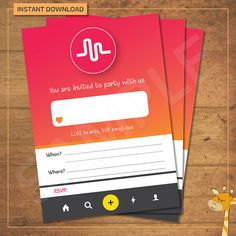 Musical.ly invitations, invitation for birthday party, musically party - Digital file - Instant Download