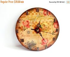 Decoupage wooden wall clock gift idea patinated antiqued romantic style vintage roman numbers from MKedra Handmade. Saved to Decoupage. Wall Clock Gift, Napkin Decoupage, Retro Clock, Romantic Shabby Chic, Wooden Walls, Vintage Home Decor, Mother Day Gifts, Antiques, Etsy