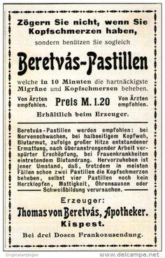 Original-Werbung/ Anzeige 1911 - BERETVÀS PASTILLEN / APOTHEKER BERETVÀS KISPEST  - ca. 55 x 90 mm