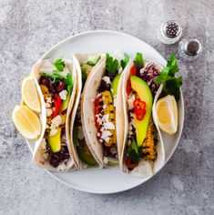 Stock photo - vegetarian snack tacos with grilled vegetables, avocado, feta cheese, salad with small sweet peppers and sauce with lemon and olive oil. Grilled Steak Recipes, Grilling Recipes, Burritos, Feta, Mexican Sour Cream, Best Vegan Restaurants, Eating Tacos, Vegetarian Snacks, Plant Based Eating
