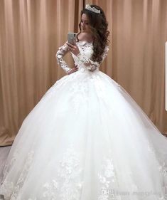 Gorgeous Princess Wedding Gowns Long Sleeve Lace Applique Church Formal Bride Dresses Tulle Ball Gown Bridal Dress Custom Made Wedding Dress Trends, Long Wedding Dresses, Princess Wedding Dresses, Tulle Wedding, Bridal Dresses, Wedding Gowns, Wedding White, Elegant Wedding, Wedding Ceremony