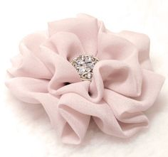 Too light of a pink. I want hot/fusia or a dusty rose shade, not so baby pink.  Silver Grey with Pale Pink shadow Chiffon, Flower Brooch, clip, Wedding , Bridesmade. $15.00, via Etsy.