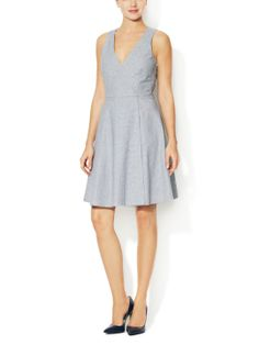 Striped Chambray Fit and Flare Dress by Alex + Alex at Gilt f0c858f469