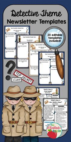 Editable newsletter templates for your detective theme classroom! First Day Activities, Science Activities For Kids, School Themes, Classroom Themes, Mission Impossible Theme, News Letters, Detective Theme, Mission Possible, Stem Classes