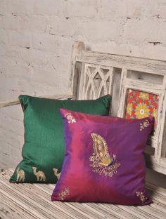 Purple Peacock Zardozi & Gotta Patti Silk Cushion Cover - 12in x 12in