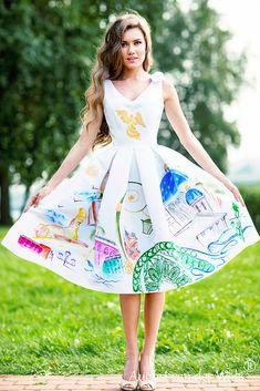 Hand-painted Dresses | Модный Дом August van der Walz Hand Painted Dress, Lily Pulitzer, Disney Characters, Fictional Characters, Disney Princess, Van, Dresses, Fashion, Vestidos